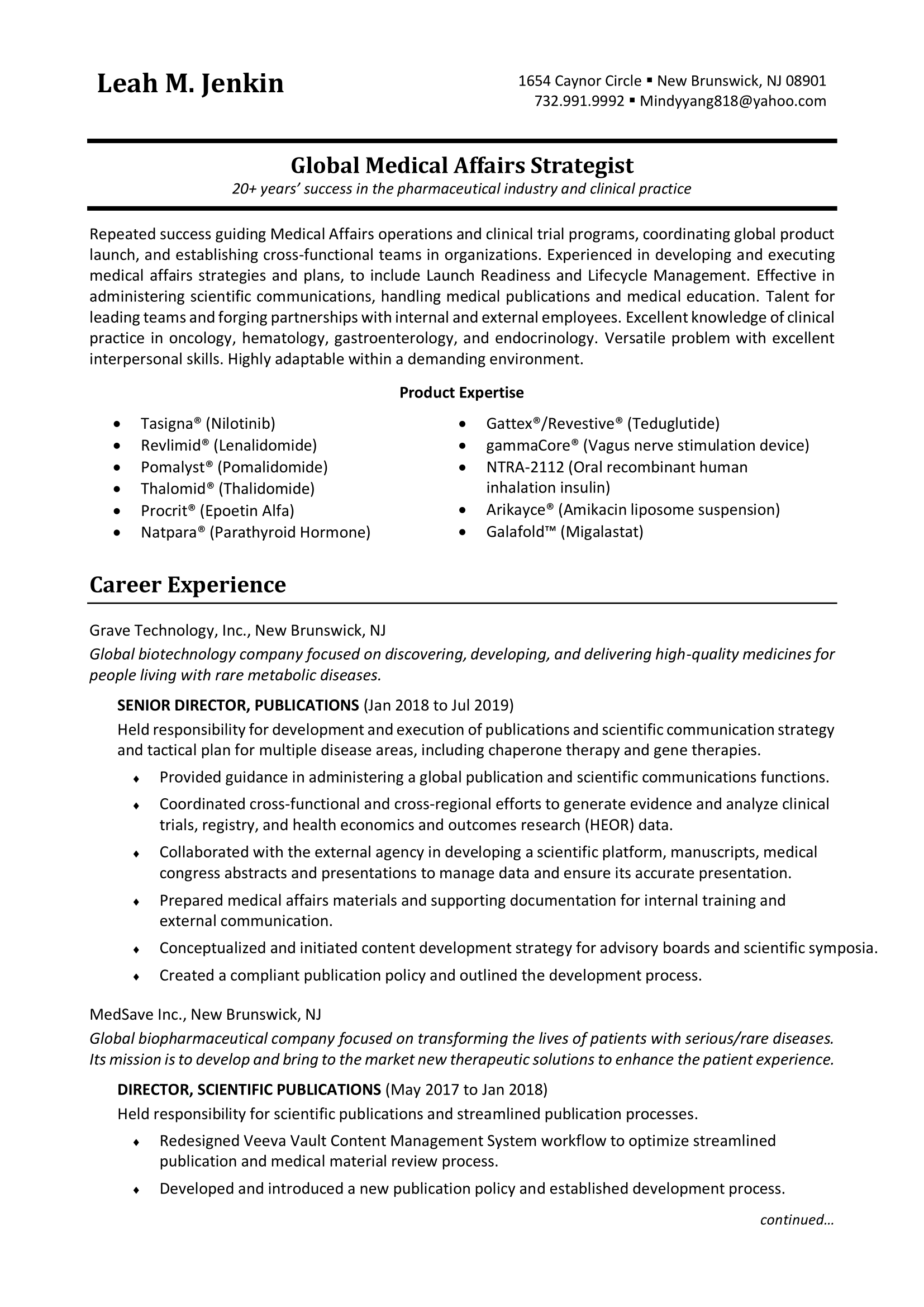 Free Example of Medical Resume Executive Level in PDF