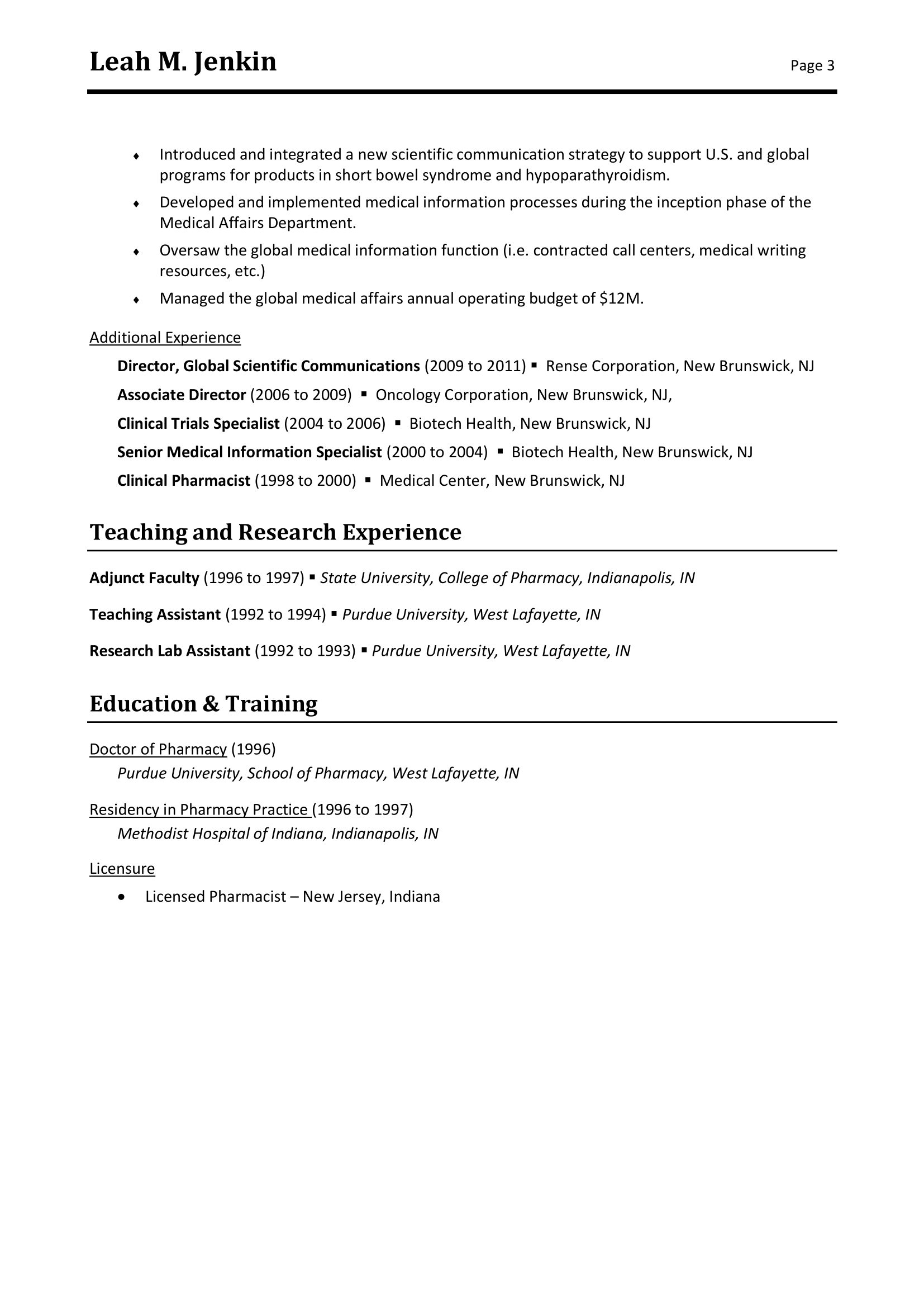 Free Example of Resume Medical Executive Level in PDF